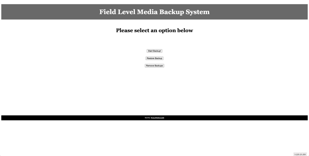 Custom Backup Software – Field Level Media